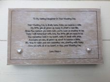 Shabby personalised Gift Chic Natural Wood Daughter On Her Wedding Day Bride